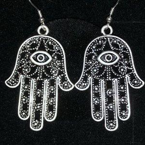 Hamsa Hand Earrings w/925 Sterling Silver Findings